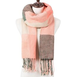 wool blanket shawl 2020 - YEABIU Fashion Winter Women Scarf Plaid Warm Scarf For Women Wool Scarves Casual Scarfs Cashmere Female Shawl Wrap Blank