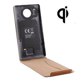 Discount case for lumia 950 xl Vertical Flip Genuine Leather Case QI Wireless Standard Charging Back Cover For Microsoft Lumia 950 XL