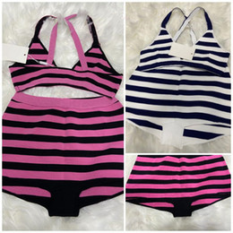 Wholesale knitted swimwear for sale - Group buy Hot Selling Knit Stripe Swimsuit Bikini Set Women Fashion Swimwear IN Stock Swimsuit Bandage Sexy Bathing PINK Suits Sexy pad tags