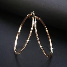 designer earrings Fashion Hoop Earrings With Rhinestone Circle Earring Simple Big Circle Gold Color Loop For Women