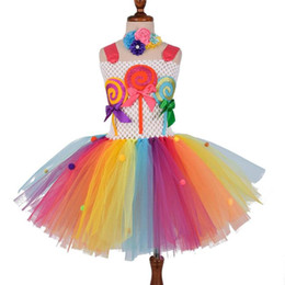 baby land 2020 - Candy Land Tutu Dress Girls Kids Lollipop Birthday Party Tulle Dresses Baby Girl Rainbow Princess Dress Halloween Costum