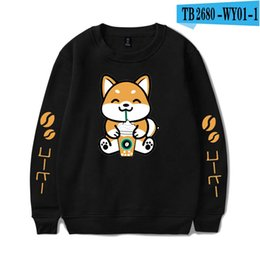Wholesale harajuku cartoon tracksuit online – oversize 2019 New Autumn Winter Anime Cartoon Funny Dog Drink Coffee Hoodies Men Women Streetwear Tracksuit Kawaii Harajuku Sweatshirt sqczUi dh_bde