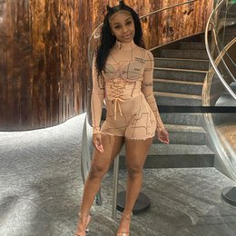 sheer outfit Australia - Women Short Jumpsuit Bodycon Rompers See Through Sheer Mesh Print Pattern Long Sleeve Sexy Club Party One Piece Outfit Playsuit