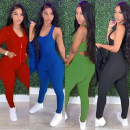 Wholesale jogger outfits womens for sale – designer Fall Winter womens piece tracksuit fish scale vest zipper jackets leggings pants outfits sets sweatsuits joggers plus size clothing