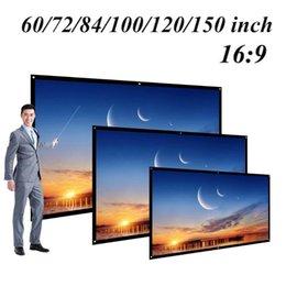 venda por atacado Telas de projeção 60/72/84/100/120 polegadas Projetor Tela HD 16: 9 Dacron White Dacron Wall Video Montado para Home Theater Filme
