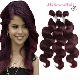 burgundy hair wefts 2021 - Burgundy Red Malaysian Remy Hair Wefts Body Wave 3 Bundles Burgundy Ombre Malaysian Indian Brazilian Virgin Human Hair E