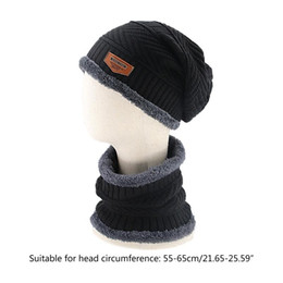 chunky scarves Canada - 2Pcs Winter Chunky Knit Beanie Hat Circle Scarf Set Plush Lined Warm Skull Cap L9BE
