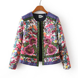 Wholesale woman coats china resale online – China National Style Women s Winter Jacket Flower Embroidery Coat Female Autumn Printing Jacquard Woven Women s Cotton Jacket