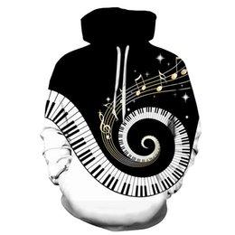 Wholesale Piano Keyboard Tide Brand 3D Music Line General Sweatshirt Men Women Hoodie Fall Winter Outdoor Sports Jacket Casual pullover