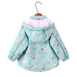 Wholesale corduroy coats for girls for sale – winter New spring autumn children top clothes Y girls hooded jackets fashion animal floral print outerwear windproof coat for girls