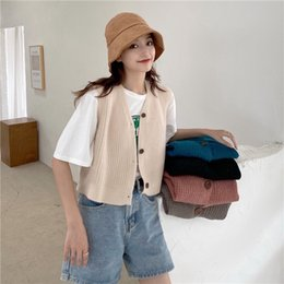 Wholesale knit sleeveless cardigan for sale - Group buy YyTjB new style Vest vestwomen s early autumn style knitted cardigan loose sleeveless Korean waistcoat women s short and versatile wPwDm