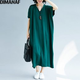 Wholesale vintage batwing dress for sale – plus size DIMANAF Women Dress Autumn Plus Size Knitted Femme Lady Elegant Sweater V Neck Batwing Loose Solid Sweater Long Dress Fit XL C1009