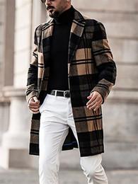 Hommes Trench-Coat Revers à Carreaux Veste à Tweed Manteau Chaud Parka Hiver
