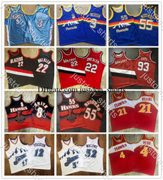 curry basketball shirt Canada - NCAA Youth Retro Jerseys Iverson Lebron Durant Doncic Williams Carter Curry Morant Mutombo Drexler Embroidery Mitchell & Ness Swingman Shirt
