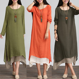 cotton linen maternity clothes Canada - clothes Boho Women Casual Cotton Linen Shirt A-line Long Maxi Maternity Dress Tops Loose Pregnancy Dresses