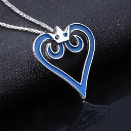 Wholesale kingdom hearts sora for sale - Group buy MIDY Game Kingdom Hearts Necklace Sora Blue Crown Heart Logo Pendants Necklace Chain Women Lady Cosplay Jewelry Trinkets
