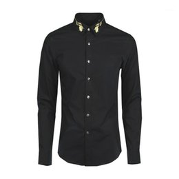 new style paint shirt 2021 - New arrival fashion Style Embroidered Long Sleeved Men Shirt Square Collar Casual Mens high quality 100%cotton plus size M-4XL1