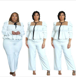 Wholesale puff o plus for sale - Group buy Style Women Solid Mesh Patchwork Two Piece Sets Spring O neck Puffy Sleeve Tops High Waist Loose Pants Plus Size Outfits