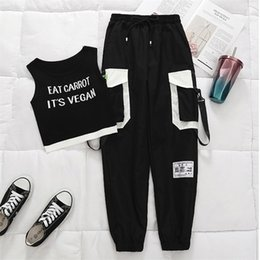 Wholesale high waisted pants for sale - Group buy Spring Black Ribbon Cargo Pants Women High Waisted Joggers Women Women s Summer Big Pocket Sweatpants LJ201130