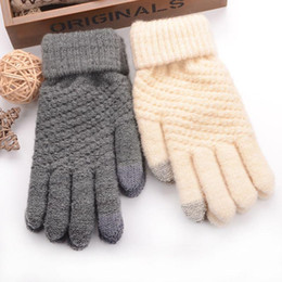 Skiing Touch Screen Sensory Gloves For Women Gloves Girl Female Stretch Knit Mittens Winter Warm Accessories Wool Guantes on Sale