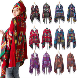 Women Bohemian Collar Plaid Hooded Blanket Cape Cloak Poncho Fashion Wool Blend Winter Outwear Shawl Scarf DDA755 on Sale