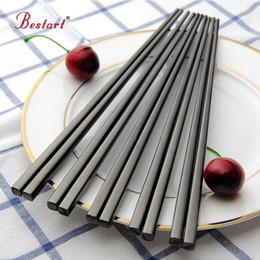 Wholesale polish food online – design 5pairs Japanese Chopsticks hashi Black Stainless Steel Mirror Polish Square Chopstick Metal Food Chop Sticks Tableware Tools T200227