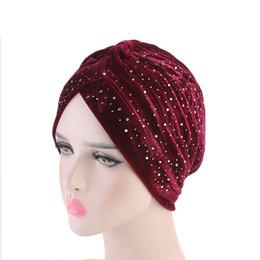 Femmes élégant strass Turban chapeau cheveux Head Wrap Cap-Beanie Caps