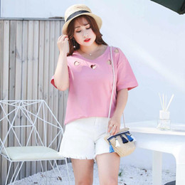 Wholesale womens jeans short size resale online - Fashion mid Waist Shorts for Women s Jeans loose Summer Womens Shorts ripped Pockets Big Size Denim