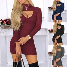 sexy s out dress 2020 - Hot Sale Fashion Sexy Women Autumn Long Sleeve Dress Solid Color Sheath Clothes High Waist Soft Frabic Solid color Whole