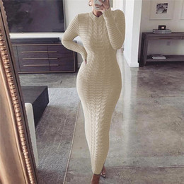 Wholesale womens sweater dresses for sale - Group buy Solid Color Knit Dresses Womens Designer Long Sleeve O Neck Slim Long Dresses Autumn Fashion Sexy Women Sweater Bodycon Clothing
