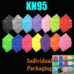 Vente en gros 12 couleurs KN95 masque usine 95% Filtre FFP2 Masque coloré Masque activé Respiration du carbone Valve de respirateur 6 couches de concepteur de visage masque de masque