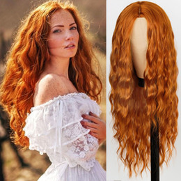 Discount long hairstyles black hair Red Black Orange Color Long Water Wave Hairstyle Wigs for Women Synthetic Hair High Temperature Fiber Average Size