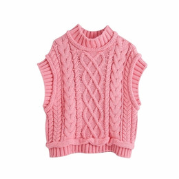 Discount wool sleeveless vest Evfer Women Casual Za Turtleneck Pink Knitted Pullover Vest Autumn Chic Lady Sleeveless Sweaters Girls Cute Knitted Jump