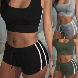 2Pcs Women's Suit Padded Bra Solid Color Sleeveless Tank Tops Drawtring Shorts Fitness Gym Sports Fashion Casual Set #UD1n