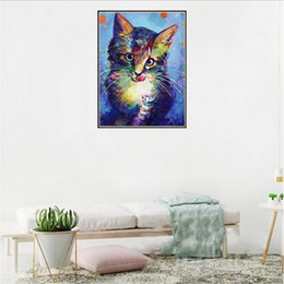 DIY Diamond Peinture avec couleur Les peintures de chat avec des images décoratives suspendues avec des images de chat de fleur colorées pour un diamant complet en Solde