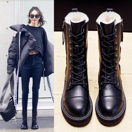 Wholesale hot girls teddies for sale - Group buy New Fashionable Women s Snowboots Girls Plutonium Leather Boots Side Zip Anti slip Hot Teddy Shoes Inside Lace upblack Dpv4