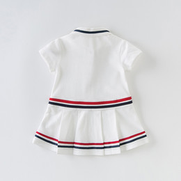 silk baby clothing Australia - DBS12677 dave bella summer baby girls ss striped dress children fashion party dress kids infant lolita clothes