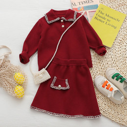 Weihnachten Mädchen Strickmode Herbst-Winter der neuen Kinder-Revers Stricken Pullover Polo Pullover + Rock 2Pcs Lady Style Kindeinstellt rot A4782