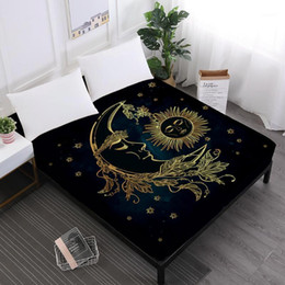 moon stars bedding 2021 - Golden Moon Star Print Bed Sheets Mandala Fitted Sheets King Queen Crown Print Sheet Black Soft Mattress Cover Elastic B