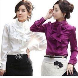 Wholesale ruffle blouses formal online – Women Chiffon Blouse Feminine OL Formal Ruffle Puff Sleeve Royal Satin Tops Female Long Sleeve Shirt Plus Size XL