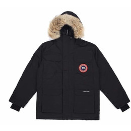 Wholesale canadian goose jacket for sale – warmest winter Classic Hot Mens Canadian Expeditions Parka Goose Down Jackets Outerwear Jacket Coat Real Wolf Fur Water Winderproof Colors