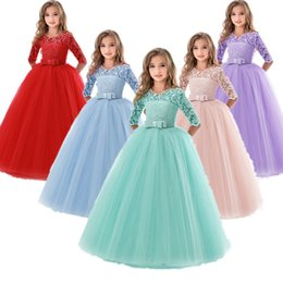 blue prom dresses for kids UK - Teenage Girls Dresses For Girl 10 12 14 Year Birthday Fancy Prom Gown Flower Wedding Children Princess Party Dress Kids Clothing