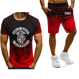Wholesale men short pants skulls resale online – Men S Short Sleeve Soa Sons Of Anarchy The Child Skull Printed Fashion Gradient High Quality Male T Shirt Pants Suit U