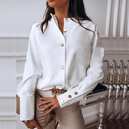Wholesale blouse women resale online - Elegant White Blouse Shirt Women s Long Sleeve Buttton Fashion Woman Blouses Womens Tops and Blouses Solid Spring Tops
