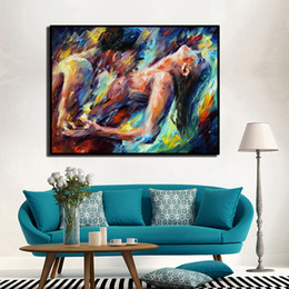 body art painting men UK - Passion Sexy Painting Naked Woman and Man Abstract Body Art Palette Knife Oil Painting Canvas Print for Bedroom Home Wall Decor Y200102