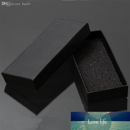 Discount cardboard pads Practical Matte Black Gift Box Jewelry Key Buckle Packaging Small Cardboard Jewelry Boxes With Foam Sponge Pad Boxes For