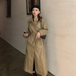 Wholesale cool trench resale online - GOOHOJIO Cool PU Leather Long Jacket Fashion Women Jacket Loose Belt PU Leather Windbreaker Trench Women Coat Slim Autumn