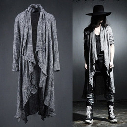 Wholesale pop extra resale online - Spring Summer Korean Stylish Grey Black Extra long pop punk cardigan linen shirts for men Y200409 p4fl