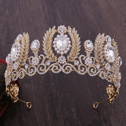 european rhinestone tiara 2021 - Large European Baroque Pearl Crystal Bride Tiara Rhinestone Queen Pageant Crown Vintage Wedding Hair Ornaments For Women