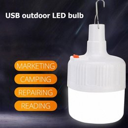 battery led lights paper lanterns NZ - Portable LED Camping Light Bulb 40W 80W 100W USB Rechargeable Tent Lamp Lanterns Outdoor BBQ Hiking Emergency Lights Paper Lanterns Wi B5CX#